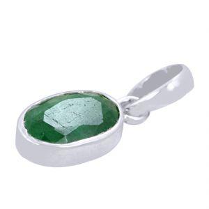 Buy 6.50 Ct Certified Panna Emerald Silver Pendant online