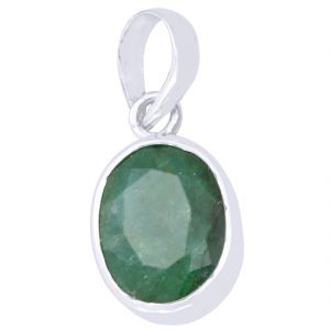 Buy Certified 5.25 Ratti Green Emerald Silver Pendant online