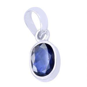Buy Designer 6.25 Ratti Certified Blue Sapphire Silver Pendant online