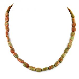 Buy Nirvanagems Natural 18 Inches Ruby Zoisite Gemstone Necklace online