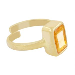 Buy Nirvanagems Certified 7 Ct Yellow Sapphire Panchdhatu Adjustable Ring online