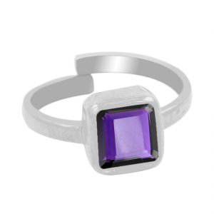 Buy Nirvanagems Natural 5.25 Ct Amethsyt Silver Adjustable Ring online