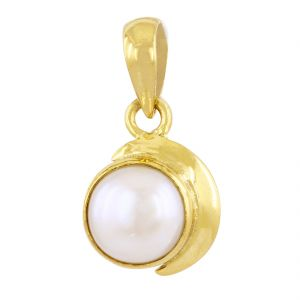 Buy Nirvanagems Natural 8 Ct Round Shape White Pearl Moti Pendant In Panchdhatu online