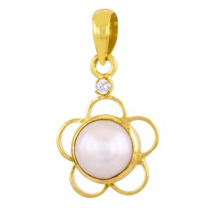 Buy Nirvanagemsflower Design Natural 6.25 Ct Pearl (moti) Gemstone Panchdhatu Pendant online