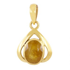 Buy Nirvanagemsnatural 6.25 Ratti Designer Yellow Sapphire Pukhraj Gemstone Panchdhatu Pendant online