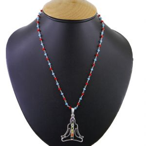 Buy Nirvanagems 39.25ct Designer 7 Chakra Yogi Meditation Silver Pendant With Wire Chain online