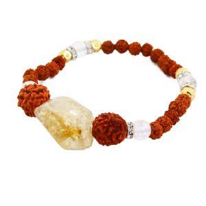 Buy Nirvanagems Natural 17ct Citrine With 5 Mukhi Rudraksha Beads Adjustable Gemstone Bracelet online