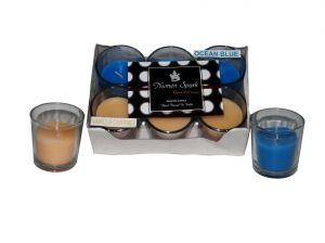 Buy Vanilla Caramel-ocean Blue Dual-scent Votive Candle (pack Of 6) online