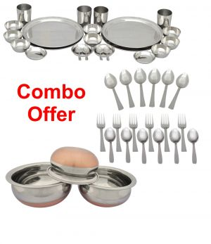Buy Czar Combo Of 24 PC Stainless Steel Dinner Set With Donga And 18 PC Steel Cutlery online