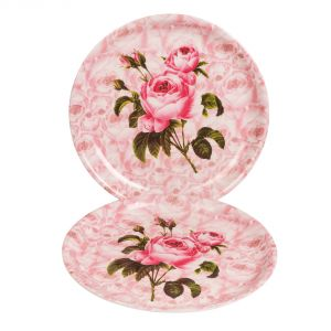 Buy Czar 2 PCs Melamine Thali Pink Rose Flower online