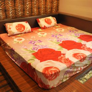 Buy Czar 3d Double Bed Sheet With 2 Pillow Covers- Orange online