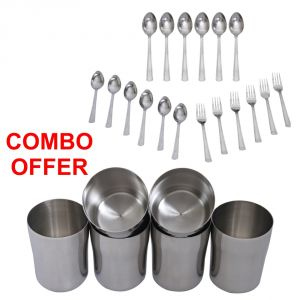 Buy Czar Combo Of Sleek 18 Pcs Cutlery Set With Stainless Steel Glass online