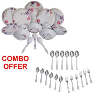 Buy Czar Combo Of 24 PCs Dinner Set-1004 With Sleek 18 PCs Cutlery Set online