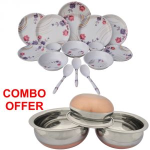 Buy Czar Combo Of 24 Pcs Dinner Set With Donga Copper Bas (Set Of 3) online