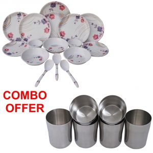 Buy Czar Combo Of 24 PCs Dinner Set-1004 With Stainless Steel Glass ( Pack Of 6 Pcs) online