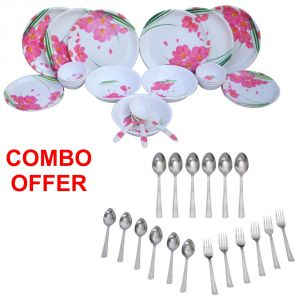 Buy Czar Combo Of 24 Pcs Dinner Set-1006 With Sleek 18 Pcs Cutlery Set online