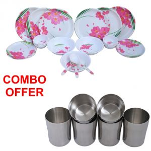 Buy Czar Combo Of 24 Pcs Dinner Set-1006 With Stainless Steel Glass ( Pack Of 6 Pcs) online