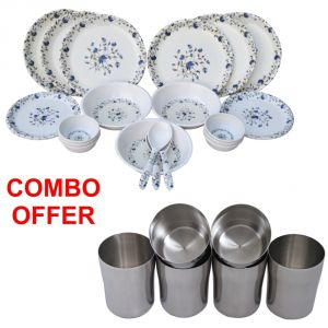 Buy Czar Combo Of 24 Pcs Dinner Set With Stainless Steel Glass ( Pack Of 6 Pcs) online