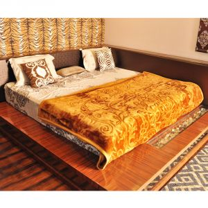 Buy Czar Floral Double Light Brown Blanket online
