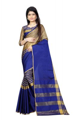 Buy Vedant Vastram Blue Colour Poly Silk Chanderi Printed Saree (code - Vvm_1027_blue) online