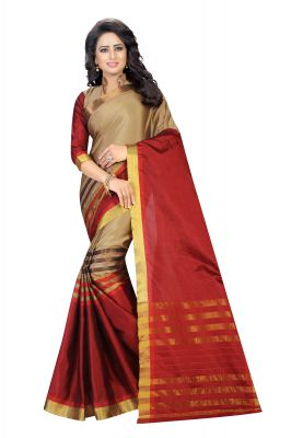 Buy Vedant Vastram Red Colour Poly Silk Chanderi Printed Saree (code - Vvm_1040_red) online
