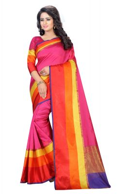 6a165e339b3 Buy Vedant Vastram Pink Colour Poly Silk Chanderi Printed Saree (code -  Vvm 1044 pink) online