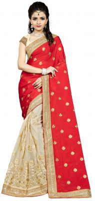 Buy Vedant Vastram Red Colour Chiffon Embroidered Saree (code - Vvask_1072) online