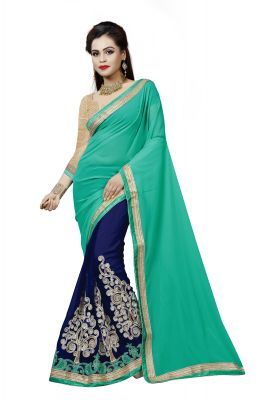 Buy Vedant Vastram Turquoise Colour Georgette Embroidered Saree (code - Vvask_1094) online