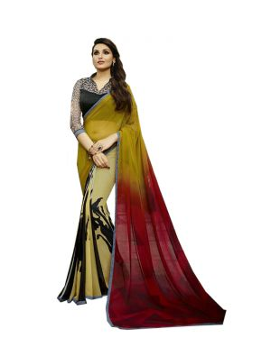 Buy Vedant Vastram Yellow Colour Georgette Printed Saree (code - Vvm_6105) online