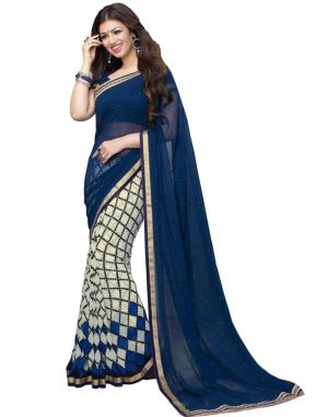Buy Vedant Vastram Blue Colour Georgette Printed Saree (code - Vvm_a3_bluechecks ) online