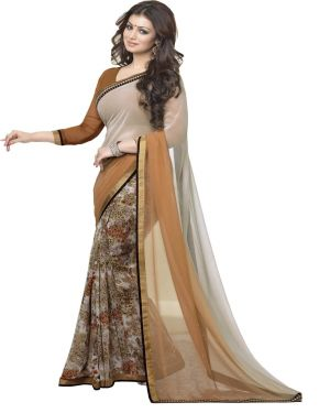Buy Vedant Vastram Beige Colour Georgette Printed Saree (code - Vvm_a4_chocalate) online