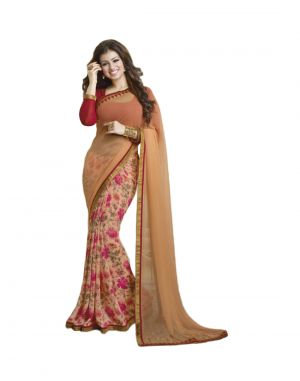 Buy Vedant Vastram Orange Colour Georgette Printed Saree (code - Vvm_a4_orangeflower) online