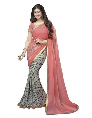 Buy Vedant Vastram Pink Colour Georgette Printed Saree (code - Vvm_a4_pinkbest) online