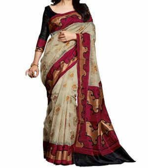 Buy Vedant Vastram Black Colour Bhagalpuri Silk Printed Saree (code - Vvbs_amishaprint) online