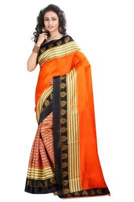 0fa8f3b92c2 Buy Vedant Vastram Orange Colour Bhagalpuri Silk Printed Saree (code -  Vvbs anuja) online
