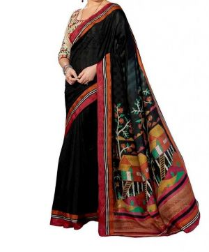 78ff16e63de Buy Vedant Vastram Black Colour Bhagalpuri Silk Printed Saree (code -  Vvbs blackhouse) online