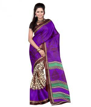9327b9fa159 Buy Vedant Vastram Purple   Beige Color Art Silk Printed Saree (code -  Vvas emily)