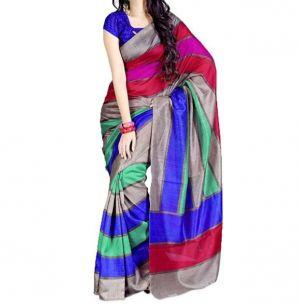 9eb8da9e8a4 Buy Vedant Vastram Blue Colour Bhagalpuri Silk Printed Saree (code -  Vvbs krazzysevenpatta) online