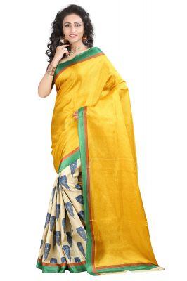 5aed2aa3069 Buy Vedant Vastram Yellow Colour Bhagalpuri Silk Printed Saree (code -  Vvbs kasturi) online