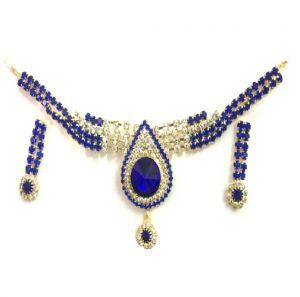 Buy Shilpi Creation's Diamonds Blue Golden Necklace Set-eidn090916004 online