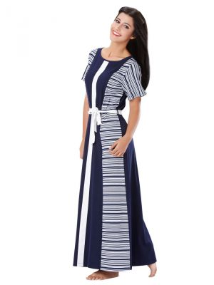 Buy Mystere Paris Colour Blocked Striped Long Dress (code - C241a ) online