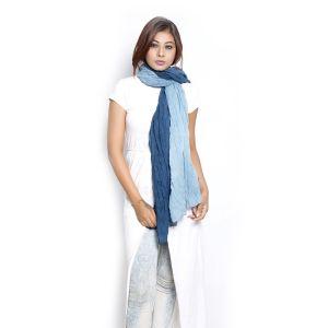 Buy Grishti Women's Ombre Blue Scarf Gg11plainblue-nb online