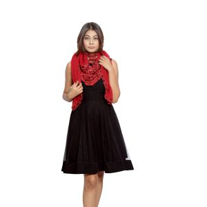 Buy Grishti Women'S Solid Red Scarf online