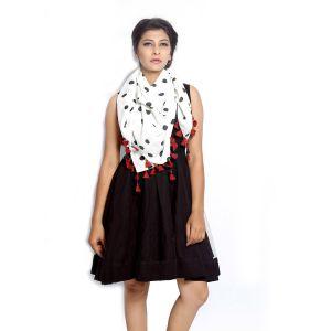 Buy Grishti Women's Polka Dot Scarf Ggg14whiteblackdot-white online