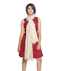 Buy Grishti Women'S Frayed Cream Scarf online