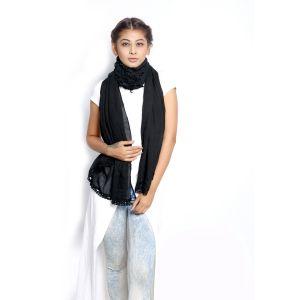 Buy Grishti Women's Solid Black Scarf Gg19black-black online