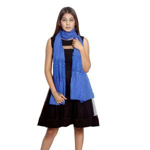 Buy Grishti Women's Solid Blue Scarf Gg21blue-blue online