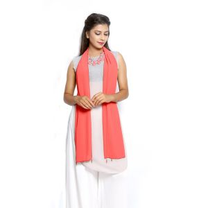Buy Grishti Women's Solid Coral Scarf Gg2coral-coral online