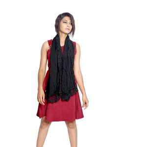 Buy Grishti Women's Solid Black Scarf With Lace Border Gg5black-black online