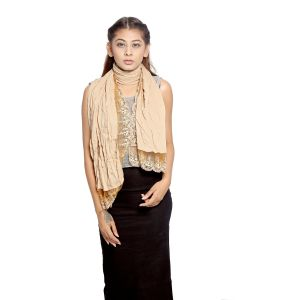 Buy Grishti Women's Solid Fawn Gold Scarf With Lace Border Gg5fawn-fawn online